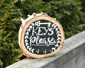 Key Holder / Key Hook / Keys Please / Birch Wood Slice / Wall Art / Entryway Decor / Handlettered / Home Decor / Key Organizer