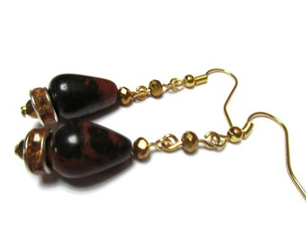 Drop natural obsidian earrings / Mahogany obsidian earrings / Dangle earrings / Dainty earrings / Whimsical earrings / Gift for her /