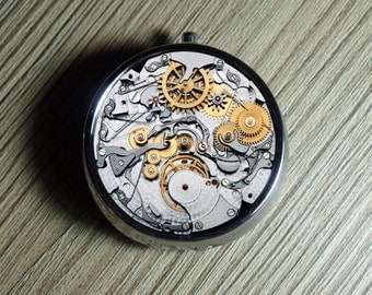 Clock PILL CASE,pillcase, pill box holder, pillbox, clock, Trinket Box, Vitamin Holder, Medicine Box or Guitar Pick Case