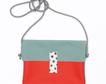 Confetti - Leather Bag - Red&Mint