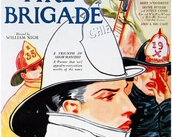 Lionel Barrymore, Vintage Movie Poster, The Fire Brigade, 1927 MGM movie, Instant Digital Download, Art Print