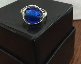 FREE SHIPPING! Blue Ring Wire Wrapped - Size 8
