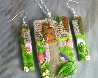 The Secret Garden.  Walled Garden Polymer Clay Jewellery Set.  Organic jewellery.  Floral Jewellery Set.  Gift for her.