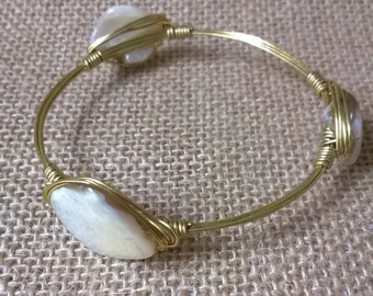 Sale! Mother of Pearl Bangle Bracelet, Shell Bracelet, Wire Wrapped Bracelet, Gift for her