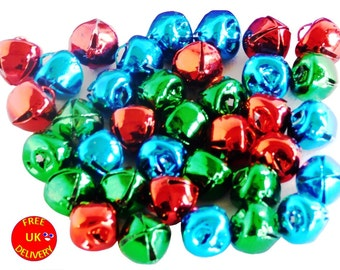 Jingle Bells Assorted Colours 10mm RED GREEN BLUE 36pcs