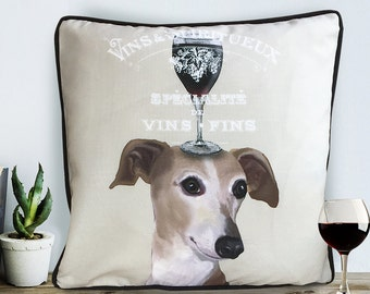 Greyhound gift for wine lover gift Greyhound pillow cover dog cushion cover Gift for dog lover uk seller only Cushion covers UK sofa pillow
