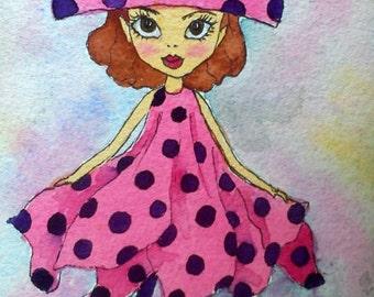 Nursery girl room, nursery print art, fairy illustration, nursery printables, girl room decor, digital download art, cute pink print art