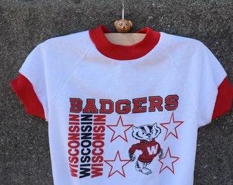 Vintage Wisconsin Badgers Baby Onesie, Size 12-18 Months -- Old School Badgers Logo -- Vintage Baby Bodysuit -- Vintage Toddler Bodysuit