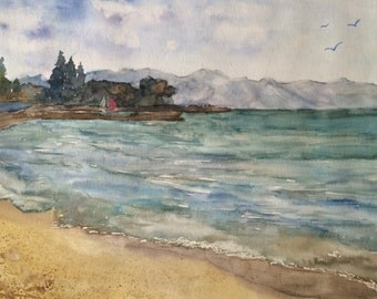 Lake Original Watercolor Painting