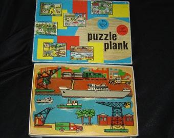 Raadsel de Haven Hefen Harbour. Old wood plank puzzle Kolibri Holland vintage. Nederland