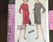 Bust 34, Size 14; Vintage Suit Sewing Patterns, Skirt, Double Breasted Jacket Patterns, McCall's 7981, 1960s Sewing Patterns, Laird-Knox