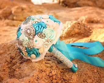 Wedding Brooch Bouquet, Shell Bouquet. Turquoise, White Sea Blue Bridal Bouquet for Beach Wedding, Seaside Wedding