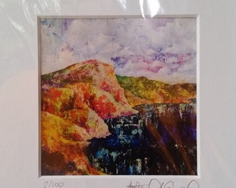 Limited Edition Acrylic Art Print 4X4 Natural Landscape with waterfall, lake, or Birch trees