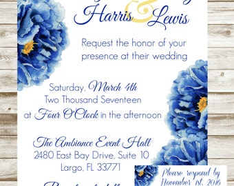 Blue/yellow Flower Wedding Invitation/RSVP card - Custom, Printable