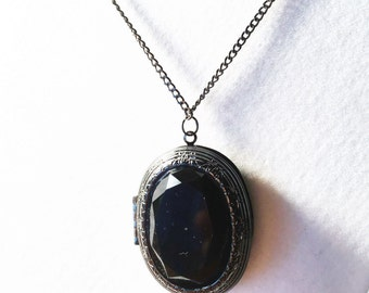Gun Metal Locket Necklace