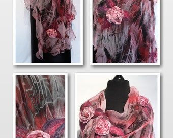 Rosy red gray black wool silk nuno felted shawl, boho style, premium gift for a lady