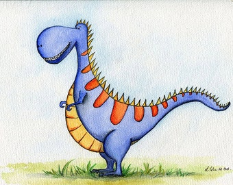 A4 Giclee Print of an Original Watercolour Painting.  Dinosaur Terrence the T-Rex.