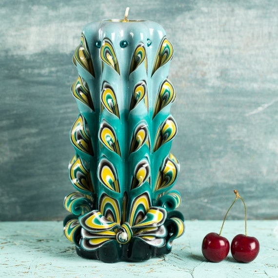 Carved candle, Carved candles, Gift for mom, Peacock Tail candle, Unique gift, Mother day gift, Gift for woman, Gift for her, Wife gift