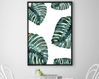 Monstera Leaf Print, Wall Decor, Tropical Print, Home Decor, Botanical Wall Print, Tropical Decor, Green Wall decor, Instant Download