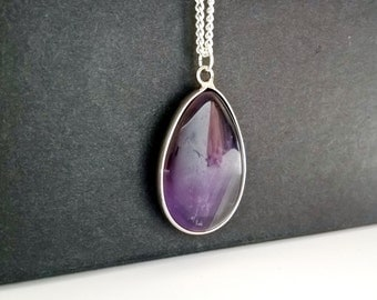 amethyst,purple,925 Sterling Siver,amethyst necklace,sterling silver pendant,