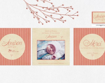 Announcements and stationery birth Chevron vintage