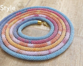 Beaded necklace Long necklace gift for women crochet jewelry blue necklace yellow necklace pink necklace orange necklace seed bead modern