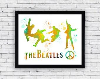 The Beatles Watercolor print, The Beatles Printable Wall Art, The Beatles wall art, The Beatles poster