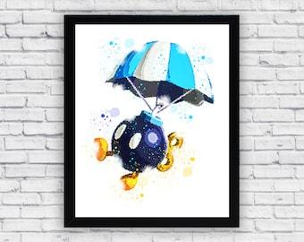 Bob-omb Super Mario Bros Watercolor printable, Bob-omb Super Mario Printable Wall Art, Bob-omb Super Mario Poster