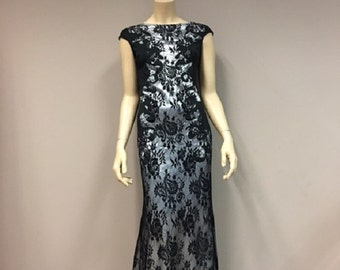 Black Lace Fishtail Dress Long Maxi Evening Wear Event Gala dresses Wedding Party Mother of the bride Formal Gown