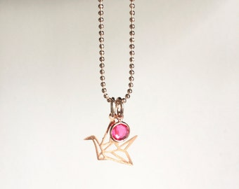 SALE - Bird Fuchsia ~ rose gold necklace ~ origami bird ~ geometric bird necklace ~ Discounted prices - Fashion Jewelry - gift wrapped