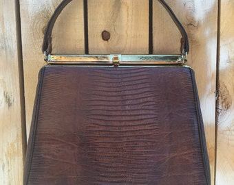 Vintage 1970's Alligator Skin Handbag