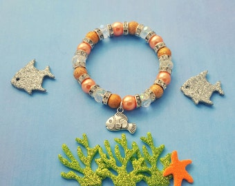 Clownfish Charm Bracelet, Kids Jewelry, Crystal Bracelet, Fish Jewelry, Children's Jewelry, Orange Bracelet, Clownfish Charm, Summer Gift