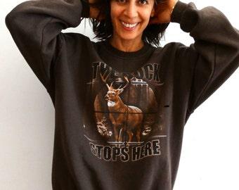 Oversize animal  sweatshirt brown loose sweat shirt sweater deer sweatshirt  mens vintage 1990s size XL