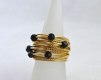 Black Onyx  layered ring, wired ring, black and gold ring, Gothic ring art jewelry, big ring, statement ring, beaded ring, wearable art