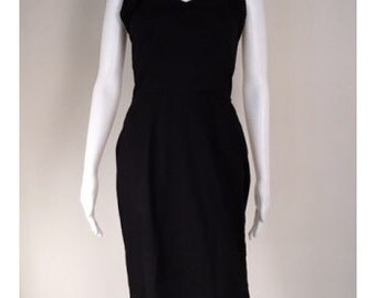 1950s Black Halter Neck Wiggle Dress