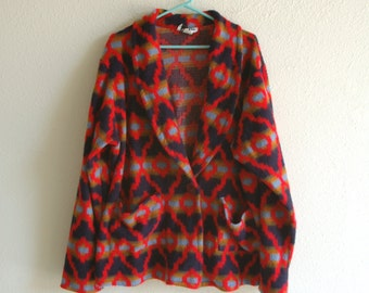 80s Red and Blue Geometric Aztec Print Fuzzy Blanket Jacket Size XXL 3X