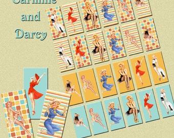 Pin up girls digital collage sheet, rectangle 1 x 2 domino tiles, printable download!!