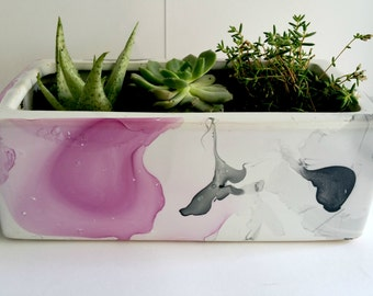 Rectangular Ceramic Planter/ Pot Plant / Mini Herb garden - Purple and Charcoal