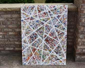 Extra Large Splatter Paint Rainbow Acrylic Painting
