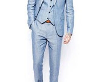 Men's Ice Blue Slim Fit Custom Fitted Suit