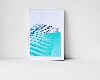 A contemporary city skyline print, Architecture poster, Pastel Minimalist, Mid century, Modernist print, Urban Cool, City scape