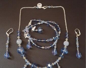 Crystal Teardrop Necklace, Bracelet Pair  & Earrings