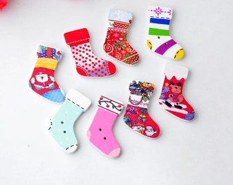 10 CREATIVE CHRISTMAS stocking-shaped wooden button