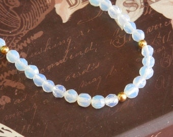 moonstone bracelet opalite bracelet opalite crystal opalite beads stretch beaded bracelet Stretch Fit All Wrists stretch bracelet