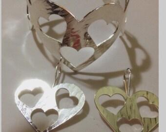 Silver Heart Cuff
