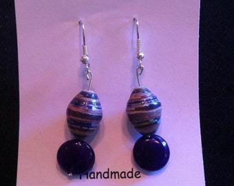 African Paper Bead Earrings (Purple)