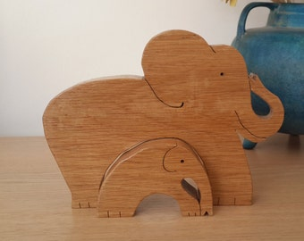 Elephant and baby wooden art puzzle