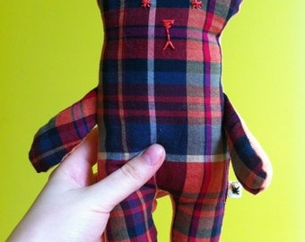 Small Folk Art Eco-Friendly Handmade Bear - Pink & Purple Plaid/Coral