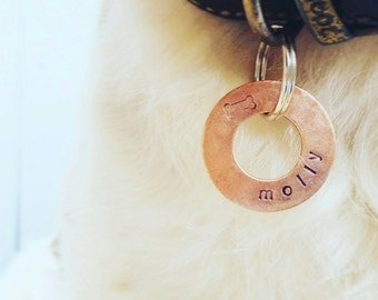 Rustic Copper Washer Style Pet Tag - lovingly handstamped (Sizes S/M/L)