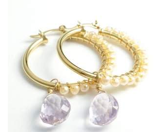 Pearls and amethyst hoop earrings